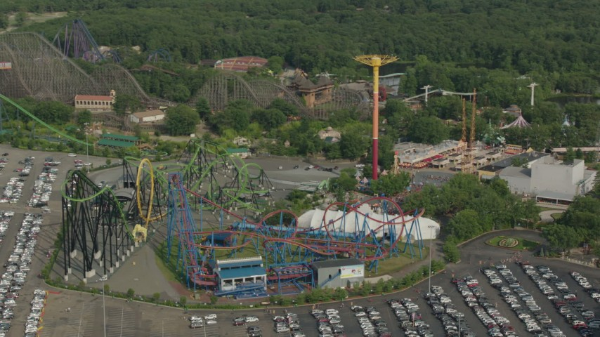 HD stock footage aerial video of theme park rides at Six Flags Great Adventure, Jackson, New Jersey Aerial Stock Footage | PP003_075