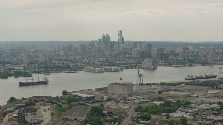 Downtown Philadelphia, Pennsylvania Aerial Stock Footage | PP003_087