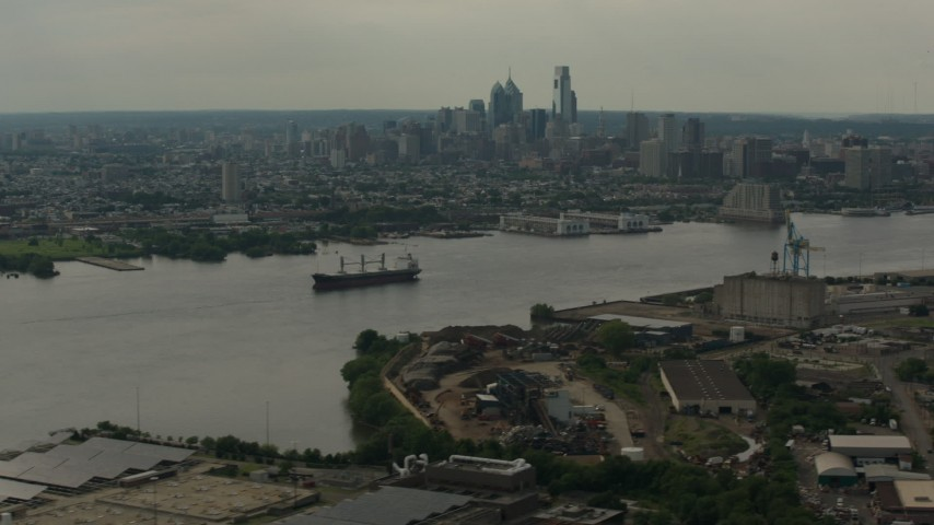 HD aerial video skyscrapers of the city skyline seen from across the river, Downtown Philadelphia, Pennsylvania Aerial Stock Footage | PP003_087