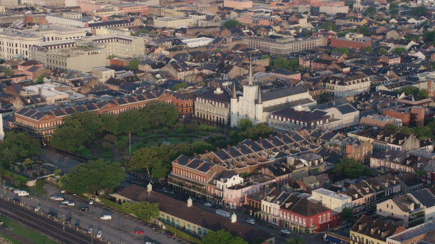 4K stock footage aerial video orbit St. Louis Cathedral and Jackson Square at sunrise, New Orleans, Louisiana Aerial Stock Footage | PVED01_032