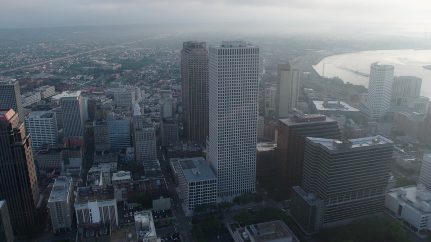 4K aerial video fly over Downtown New Orleans to the French Quarter in Louisiana at sunrise Aerial Stock Footage | PVED01_049