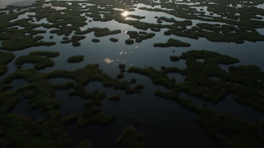 4K stock footage aerial video flying by marshland in St. Bernard Parish at sunrise, Louisiana Aerial Stock Footage | PVED01_065