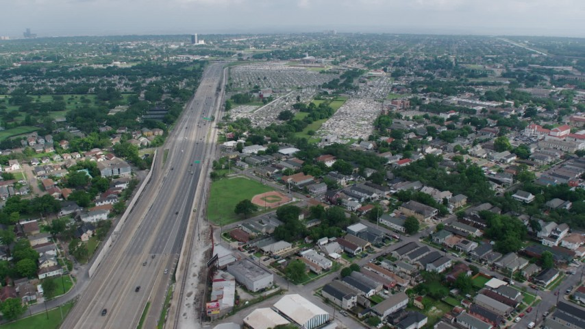 4K stock footage aerial video approach several cemeteries in Lakeview, New Orleans, Louisiana Aerial Stock Footage | PVED01_106