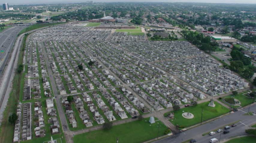 4K stock footage aerial video approach and fly over cemeteries in Lakeview, New Orleans, Louisiana Aerial Stock Footage | PVED01_107