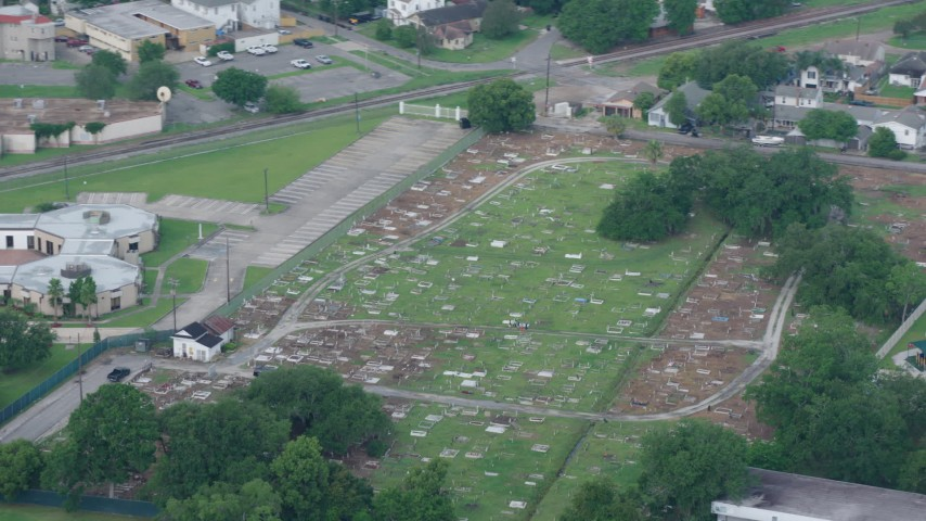 4K stock footage aerial video orbit small cemetery in Lakeview, New Orleans, Louisiana Aerial Stock Footage | PVED01_108