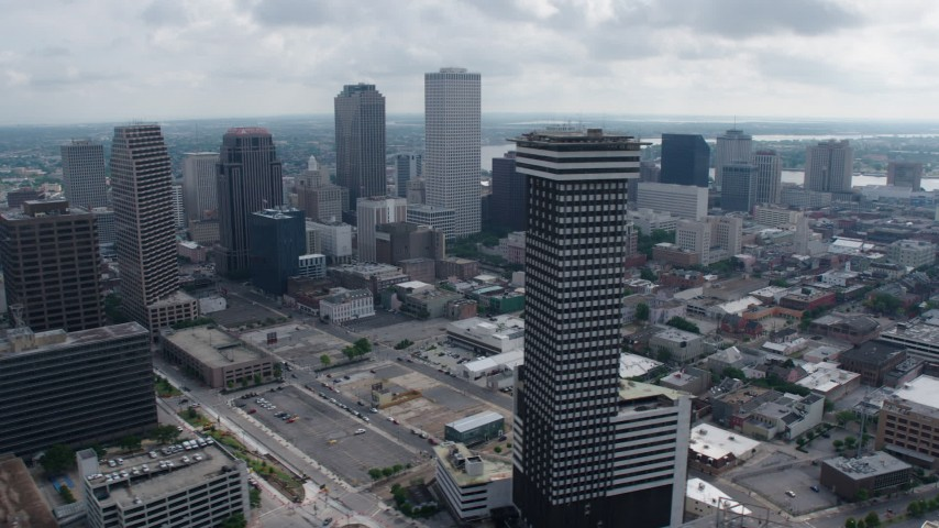 4K aerial video orbit Plaza Tower and Downtown New Orleans skyscrapers in Louisiana Aerial Stock Footage | PVED01_112