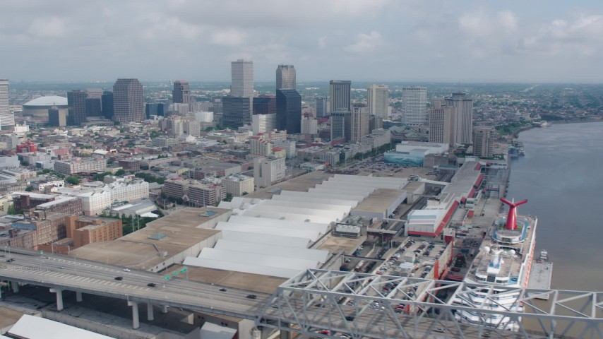4K stock footage aerial video of Downtown New Orleans seen from the Crescent City Connection in Louisiana Aerial Stock Footage | PVED01_114