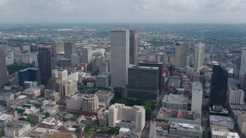 4K aerial video approach and fly over One Shell Square in Downtown New Orleans toward Iberville Projects, Louisiana Aerial Stock Footage | PVED01_115