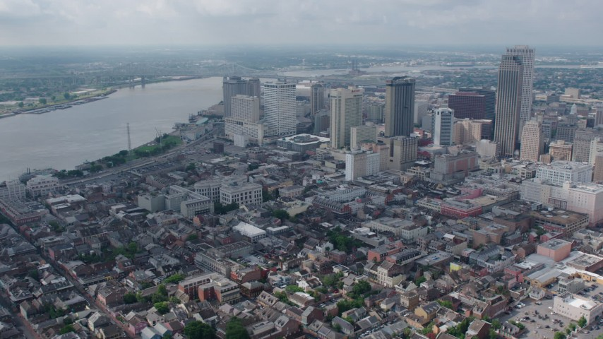 4K aerial video orbit the French Quarter and Downtown New Orleans skyscrapers, Louisiana Aerial Stock Footage | PVED01_116