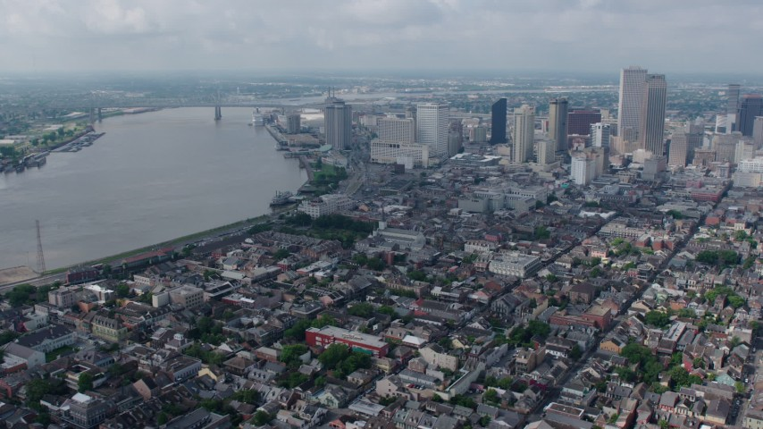 4K aerial video wide orbit of French Quarter, Downtown New Orleans and the Mississippi River, Louisiana Aerial Stock Footage | PVED01_117