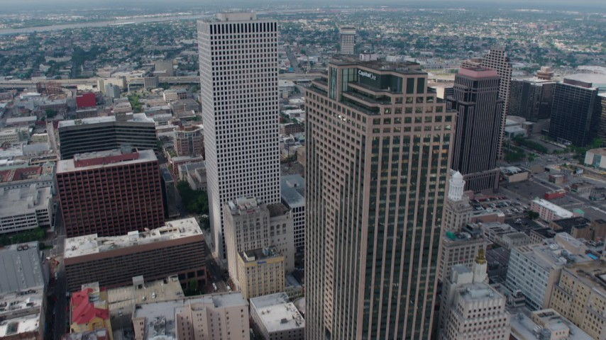 4K aerial video tilt to reveal Place St. Charles and One Shell Square in Downtown New Orleans, Louisiana Aerial Stock Footage PVED01_120
