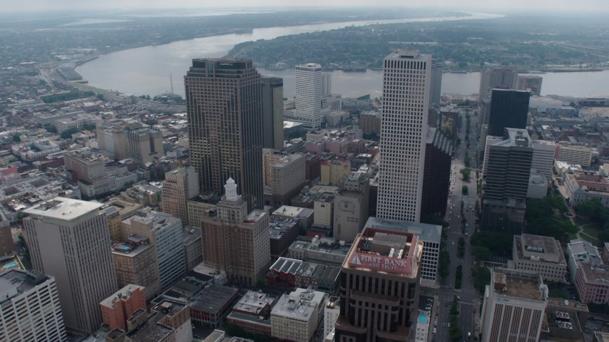 4K aerial video fly over Downtown New Orleans to the Mississippi River, Louisiana Aerial Stock Footage | PVED01_127