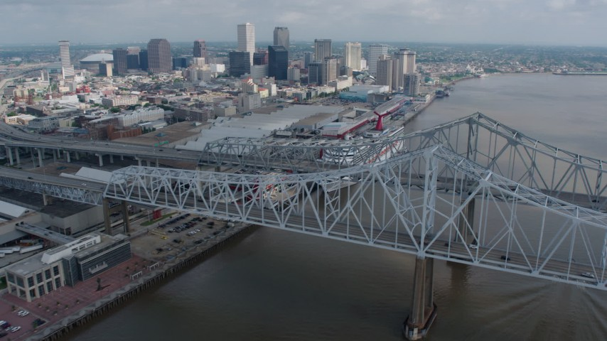 4K stock footage aerial video wide orbit of the Crescent City Connection and Downtown New Orleans, Louisiana Aerial Stock Footage | PVED01_133
