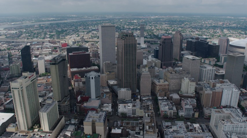 4K stock footage aerial video approach Downtown New Orleans high-rises from the French Quarter, New Orleans, Louisiana Aerial Stock Footage | PVED01_138