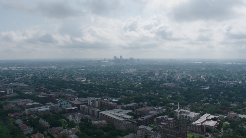 4K stock footage aerial video fly over Carrollton College and suburbs to approach Downtown New Orleans, Louisiana Aerial Stock Footage | PVED01_153
