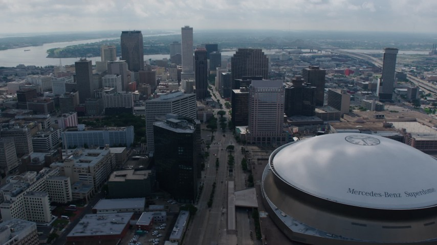 4K aerial video orbit Downtown New Orleans skyscrapers and the Superdome, Louisiana Aerial Stock Footage | PVED01_158