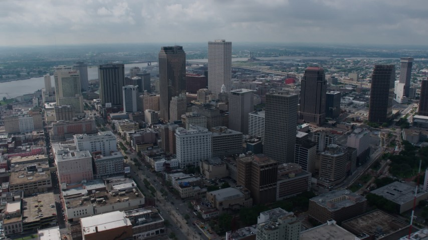 4K stock footage aerial video orbit of Downtown New Orleans high-rises in Louisiana Aerial Stock Footage | PVED01_159