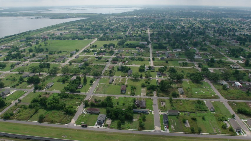 4K aerial stock footage video orbit urban neighborhoods in the Lower Ninth Ward of New Orleans, Louisiana Aerial Stock Footage | PVED01_165