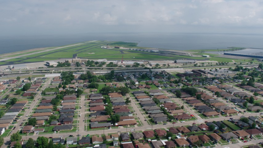 4K stock footage aerial video approach New Orleans Lakefront Airport in Louisiana Aerial Stock Footage | PVED01_169