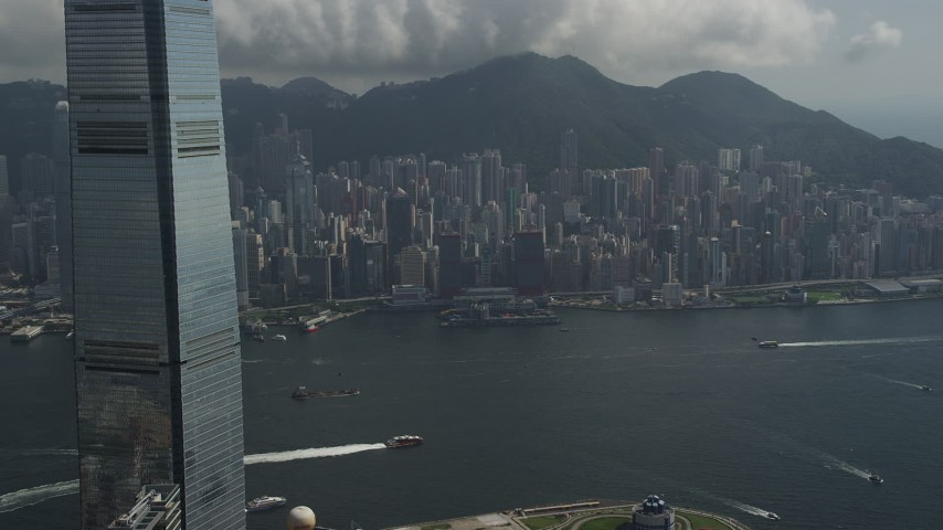 5K stock footage aerial video of view of Hong Kong Island high-rises from International Commerce Centre in Kowloon, China Aerial Stock Footage | SS01_0005