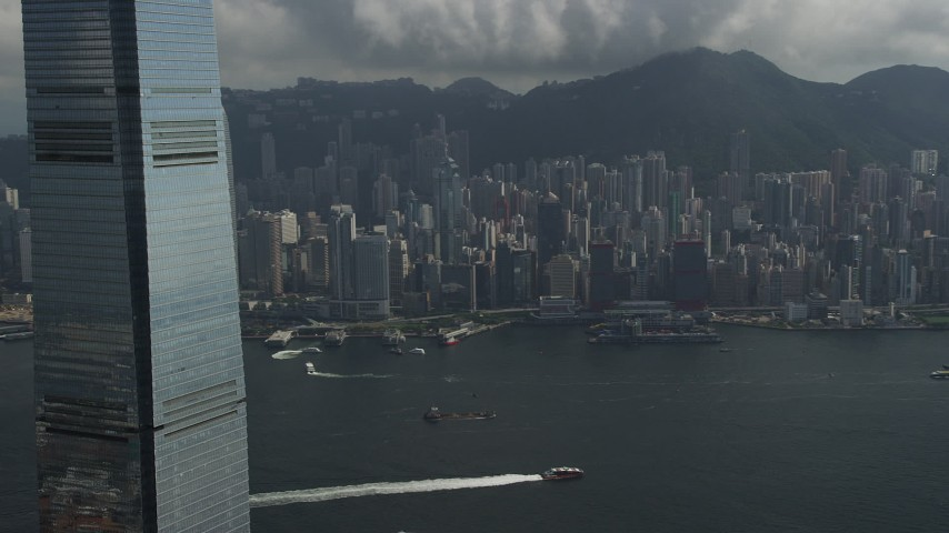 Pan Across Waterfront Skyscrapers on Hong Kong Island in China Aerial Stock Footage | SS01_0006