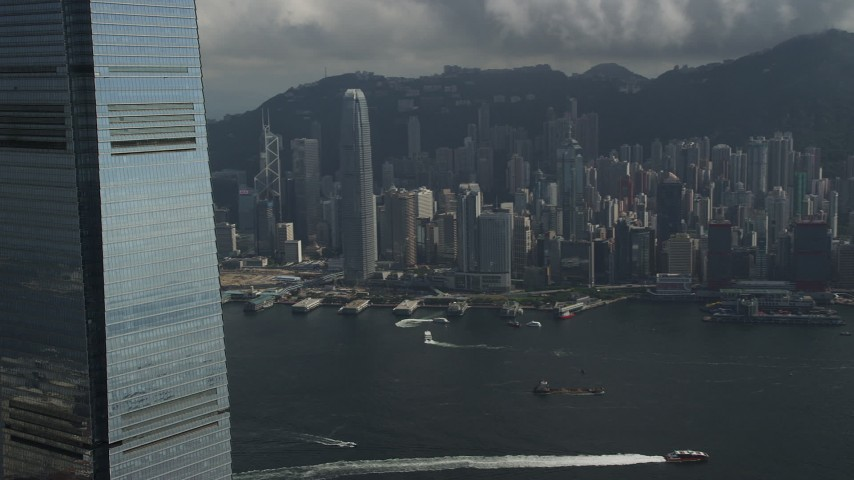5K stock footage aerial video pan across waterfront skyscrapers on Hong Kong Island in China Aerial Stock Footage | SS01_0006