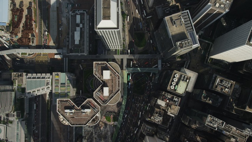 5K stock footage aerial video bird's eye view of city streets and high-rises on Hong Kong Island, China Aerial Stock Footage | SS01_0020