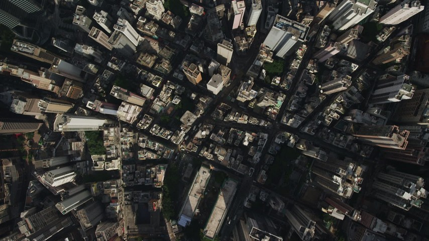 5K stock footage aerial video a bird's eye view of narrow streets and dense city blocks on Hong Kong Island, China Aerial Stock Footage | SS01_0021