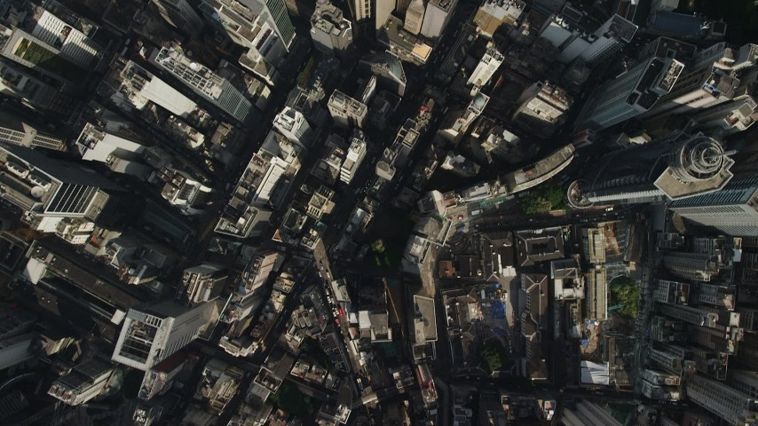 Bird's Eye View of Narrow Streets and Tall Buildings on Hong Kong Island Aerial Stock Footage | SS01_0022
