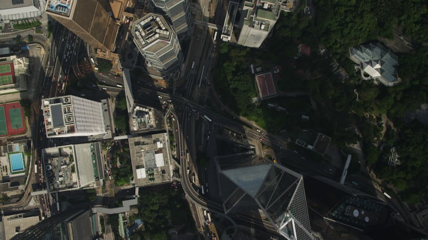 Bird's Eye View of Queens Way and Skyscrapers on Hong Kong Island Aerial Stock Footage | SS01_0023