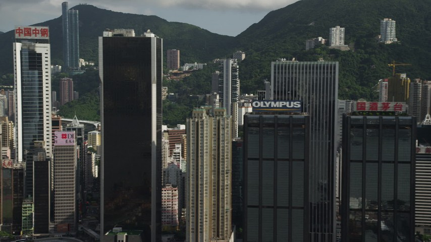 Flyby Tall High-Rises on Hong Kong Island Aerial Stock Footage | SS01_0026