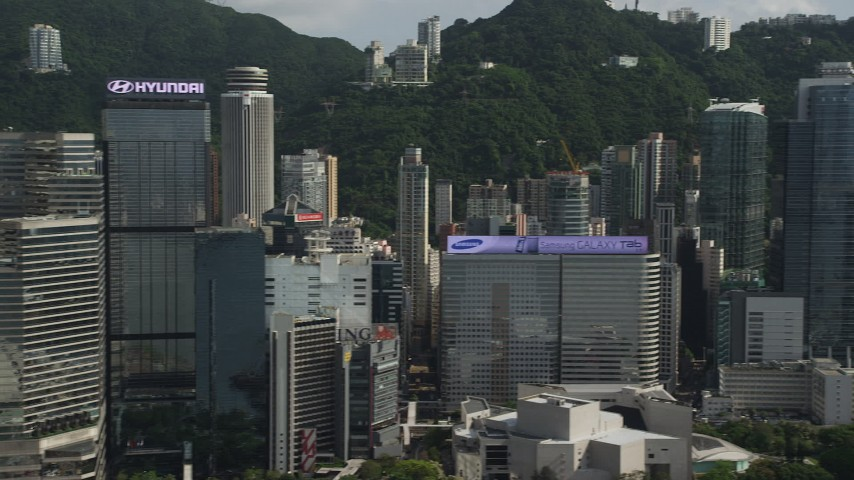 5K stock footage aerial video of flying by skyscrapers on Hong Kong Island, China Aerial Stock Footage   SS01_0027