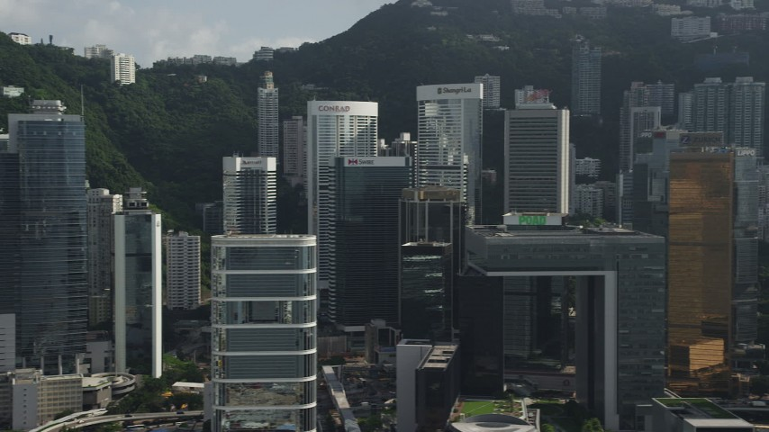 Flyby Tall and Modern Skyscrapers on Hong Kong Island Aerial Stock Footage | SS01_0028