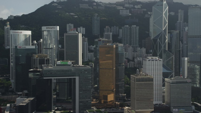 5K stock footage aerial video flyby tall and modern skyscrapers on Hong Kong Island in China Aerial Stock Footage | SS01_0028
