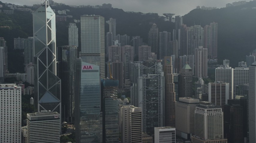 Passing Tall Skyscrapers on Hong Kong Island, China Aerial Stock Footage | SS01_0029
