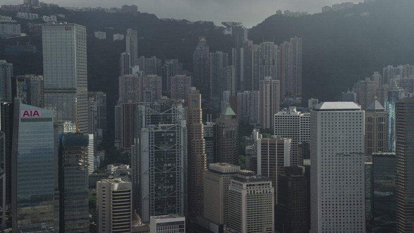5K stock footage aerial video of passing tall skyscrapers on Hong Kong Island, China Aerial Stock Footage | SS01_0029