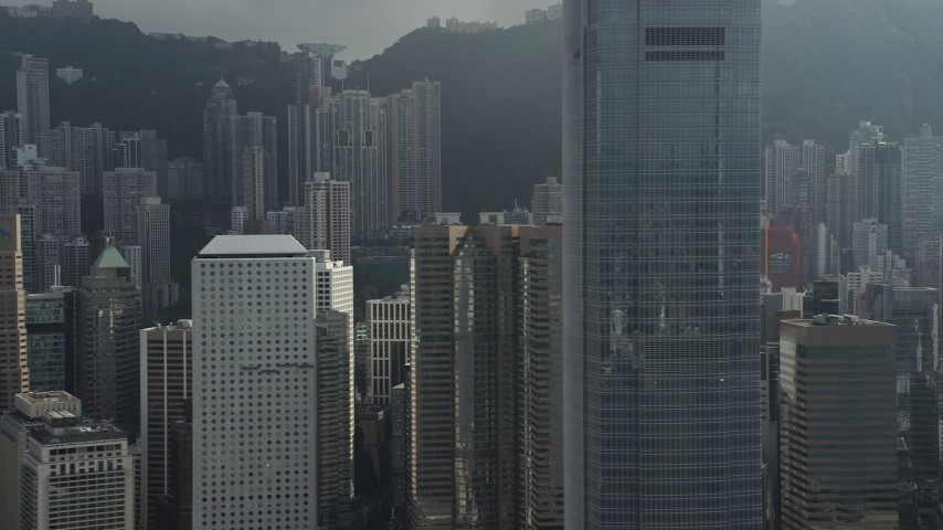 Flyby Modern Skyscrapers on Hong Kong Island, China Aerial Stock Footage   SS01_0030