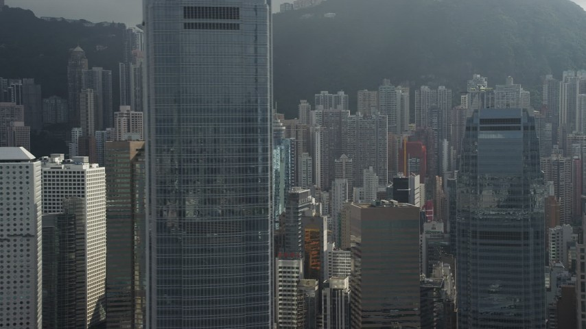 5K stock footage aerial video flyby modern skyscrapers on Hong Kong Island, China Aerial Stock Footage | SS01_0030