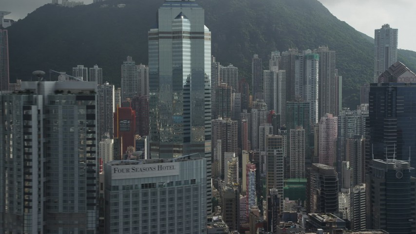 5K stock footage aerial video of modern skyscrapers on Hong Kong Island in China Aerial Stock Footage | SS01_0031