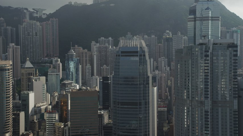 5K stock footage aerial video of top floors of modern skyscrapers on Hong Kong Island, China Aerial Stock Footage | SS01_0032