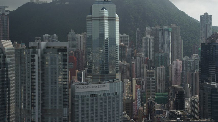 Modern Skyscrapers on Hong Kong Island, China Aerial Stock Footage | SS01_0033