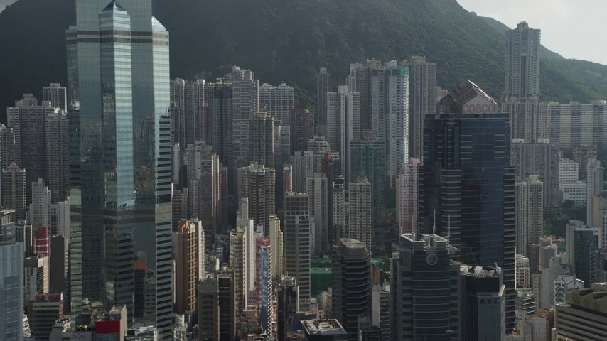 5K stock footage aerial video of modern skyscrapers on Hong Kong Island, China Aerial Stock Footage | SS01_0033