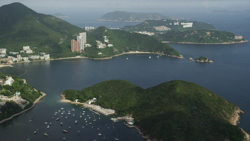5K stock footage aerial video approach Middle Island and Repulse Bay in Hong Kong, China Aerial Stock Footage | SS01_0052