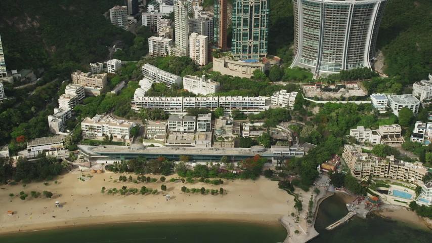 Beachfront Condominium Complex on Hong Kong Island Aerial Stock Footage | SS01_0057