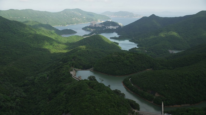 Green Forest Around Reservoirs on Hong Kong Island Aerial Stock Footage   SS01_0061