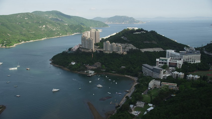 Approach to Waterfront Apartment Complex on Hong Kong Island, China Aerial Stock Footage | SS01_0067