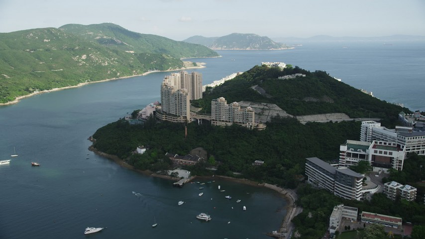 5K stock footage aerial video approach waterfront apartment complex on Hong Kong Island, China Aerial Stock Footage | SS01_0067