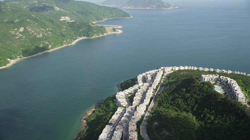 Orbit Waterfront Condo Complexes on Hong Kong Island Aerial Stock Footage | SS01_0068