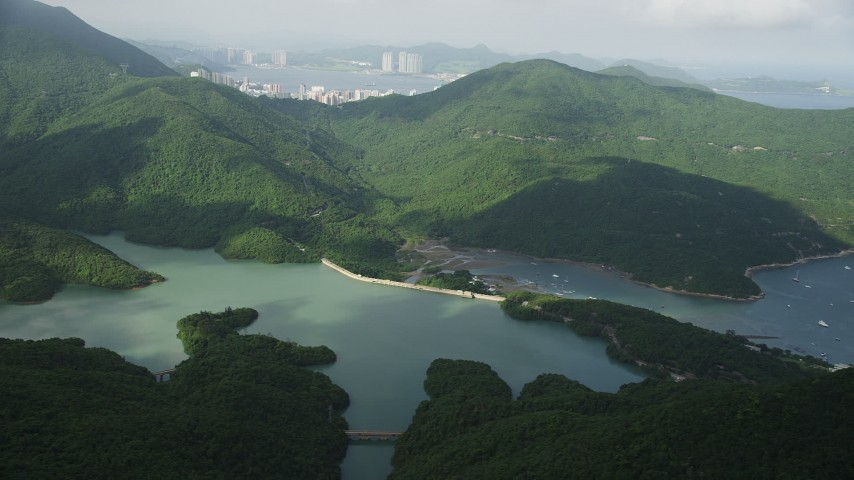 Tai Tam Reservoir on Hong Kong Island, China Aerial Stock Footage | SS01_0073