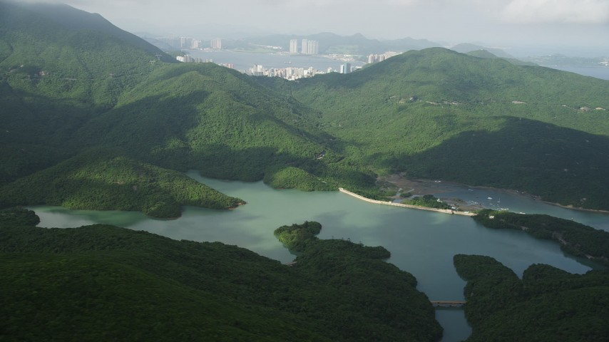 5K stock footage aerial video of Tai Tam Reservoir on Hong Kong Island, China Aerial Stock Footage | SS01_0073